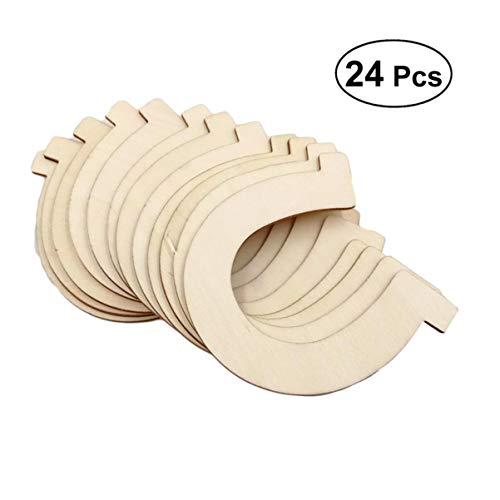 HEALLILY DIY Holzscheiben Holz Hufeisen Ausschnitte unvollendete Holzverzierungen für Heimtextilien Handwerk 24St