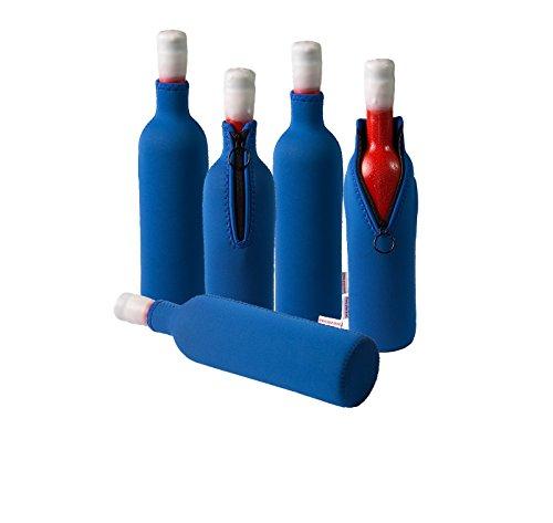 Neopren Flaschenkühler, Weinkühler, Getränkekühler (5er Spar-Set 0.7 / 0.75 Liter, Blau)