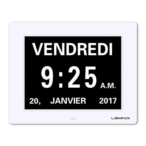 Lemnoi 8' Pouce LCD Horloge Numérique Calendrier avec Date Jour Et Heure Horloge Non-Abrégée Auto Dimming 8...