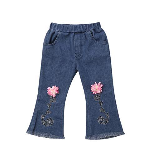 Kind Baby Mädchen Blume Gestickt Elastische Taille Troddel Glockenboden Jeanshosen (6-7 Jahre) -