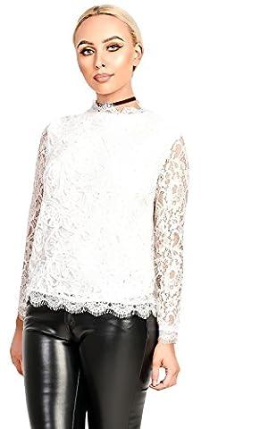 IKRUSH Women's Kaira Lace Applique Top in CREAM Size S