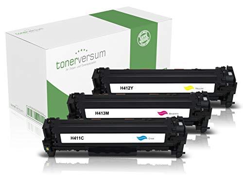 3 Toner kompatibel zu HP CF411X CF412X CF413X Cyan Magenta Gelb für Color Laserjet Pro M452 M452dn M452nw MFP M477fdw M477fnw M377dw Laserdrucker Multipack