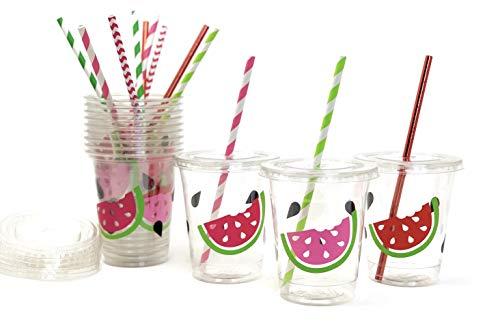 Stesha Party Trinkbecher mit Wassermelonen-Motiv, für Geburtstagspartys, 340 ml, Einweg-Kunststoffdeckel, 12 Stück