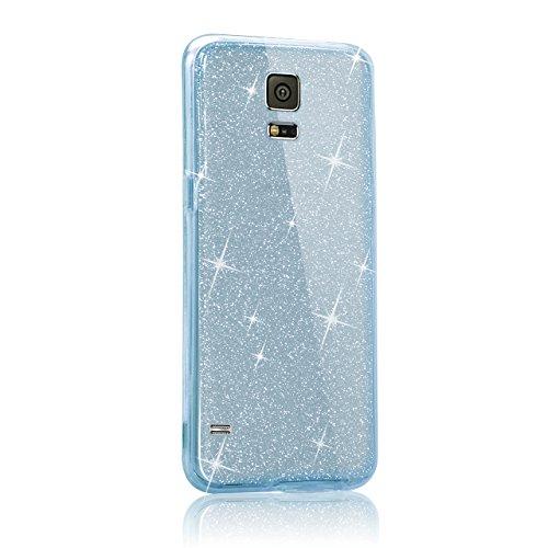 Cover Samsung Galaxy Note 4 N9100 360 Gradi,Custodia Full Body Samsung Galaxy Note 4 N9100,Fronte Retro trasparente Ultra Sottile Silicone Case Molle di TPU Sottile 3 in 1 Protezione Completa Glitter  360 Blu