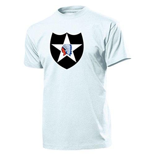 (2 US-Infanteriedivision - 2nd-Inf-Division - Decal Military - T Shirt #9952, Größe:Herren 4XL, Farbe:Weiß)