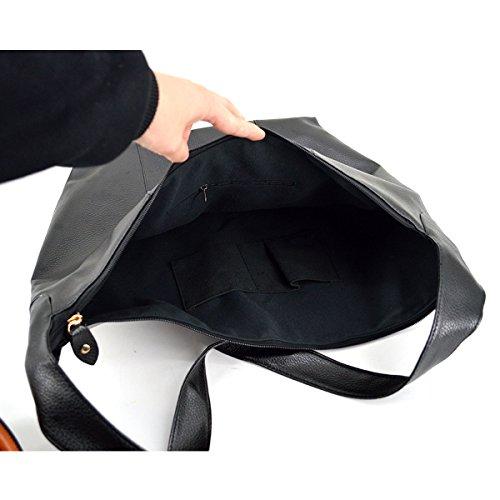 Milya Mode PU-Leder Tasche Retro Damen Tasche mit großen Kapazität Schultertasche Umhängetasche Schwarz Schwarz