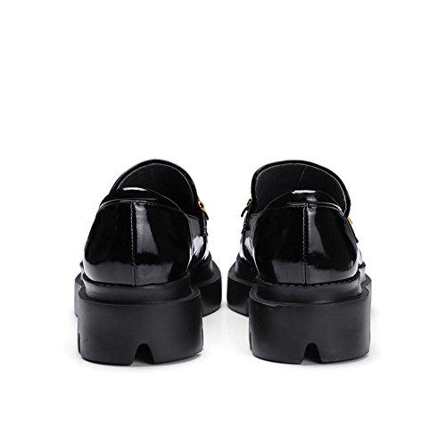 Suola Spessa Piattaforma Donna WSXY-A0905 Bellissimi Accessori Tacco Zeppa Piattaforma,KJJDE Black
