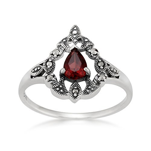 Sterling Silver Victorian 0.4ct Mozambique Garnet & Marcasite Ring