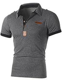 Solike Polo Homme Été T-Shirt Tops Slim en Col V avec Boutons Manches  Courtes Imprimé Casual T-Shirt de Ete Tee Tops Blouse Chemises… e40bbd6bc84b
