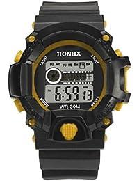 vovotrade Mens LED Digital reloj alarma de fecha de goma impermeable de deportes wristwatc ejército Amarillo