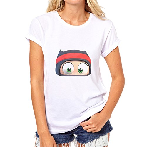 Clumsy Ninja Face Kid Damen T-Shirt Weiß