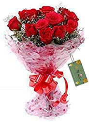 The FloralMart ® Bunch of 20 Red Roses Natural Fresh Flowers Bouquet in Cellophane Wrapping with Message Card