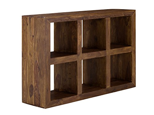 massivum Bücher-Regal Cube 131x88 cm aus massivem Palsinder Echt-Holz mit gewachster Oberfläche in...