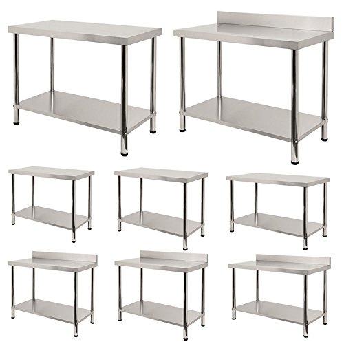 SAILUN® Edelstahl Arbeitstisch Gastro Küche Tisch Gastronomie Edelstahltisch mit extra großer unteren Ablagefläche