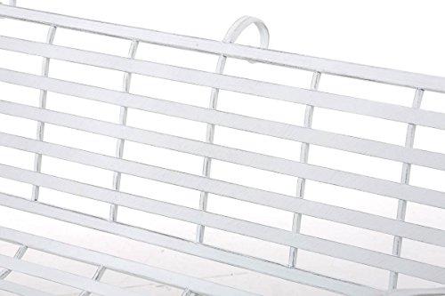 CLP Gartenbank ROY im Landhausstil, aus lackiertem Eisen, 129 x 69 cm – aus bis zu 6 Farben wählen Antik Weiß - 4