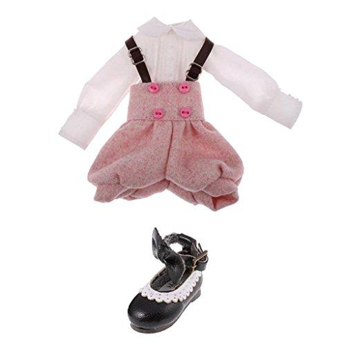 MagiDeal Hemd + Hosenträger mit Bogen Knöchel Gürtel Schuhe Outfit Für 12 Zoll Blythe Puppe