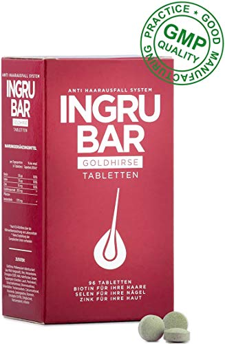 Ingrubar Goldhirse - Tabletten, 1er Pack (1 x 96 Kapseln) | Haar Nägel Haut Tabletten | Nahrungsergänzung Haare Mit Biotin Selen Zink Kieselerde | 100% Des Tagesbedarfs