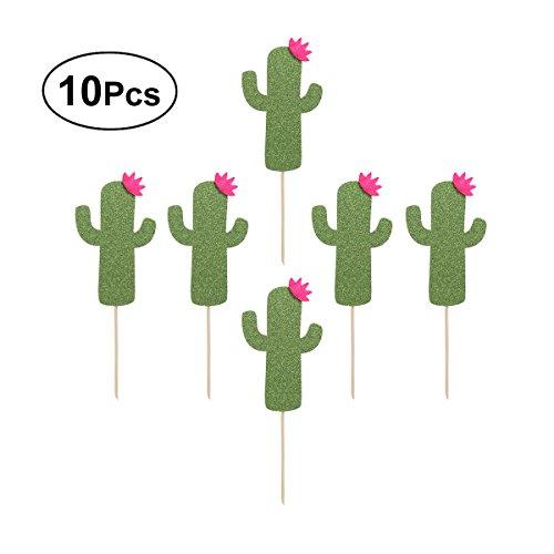 per Kaktus Cupcake Toppers Kuchen Picks Kuchen Dekoration für Geburtstag Hawaii Luau Party 10 Pcs (Hellgrün) ()
