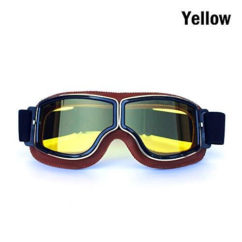 Rennbrille Dirt Bike Retro Helmbrille Motorradausrüstung Brille Outdoor Retro Brille Wind- und Staubschutzbrille Reitbrille Radsportbrille Radfahren Rennen Reiten Skibrille ( Color : Orange+yellow )