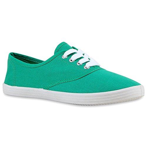 Sportliche Damen Herren Sneakers | Unisex Basic Freizeit Schuhe | Schnürer Stoffschuhe | Prints viele Farben Grün