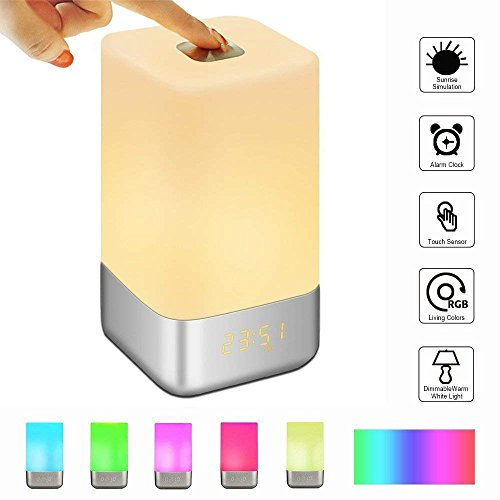 GLIME Wake Up Light Alarm Clock Touch Control Beside Lamp with Sunrise Simulation/3 Brightness Modes/5 Natural Sounds,Dimmable Color Night Light,USB Rechargeable,Best Gifts for Women Kids Children Test