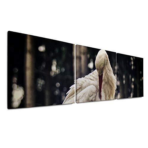 ART VVIES Installierte Leinwanddrucke mit Haken Holzgerahmte Storchennest Gebäude Paar Vogelnest Bauen Sie EIN Nest Wandbild 20 x 20 Zoll x 3 stücke Kunst Malerei für Hauptdekorationen