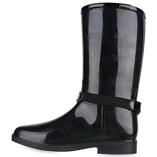 27ff8ef3505456 Rockige Damen Stiefeletten Gummistiefel Profilsohle Wasserdichte Boots  Stiefel Gumistiefeletten Lack Damenschuhe Nieten Flandell Schwarz Avion