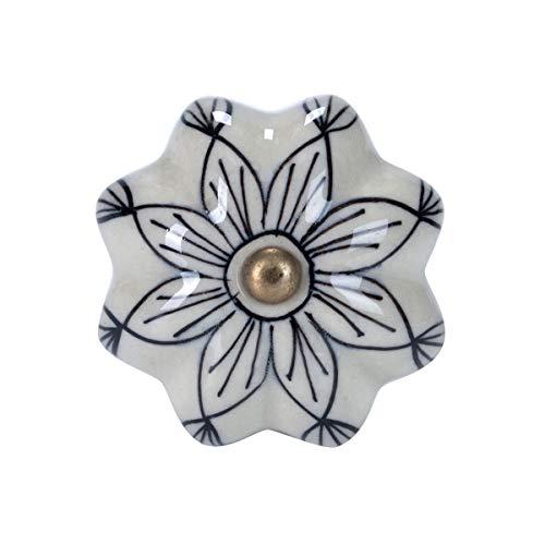 5 Keramik - (Butlers Open Möbelknopf Ornament - Möbelknopf | Türknauf | Keramik - für schöne Schränke & Kommoden Ø 5 cm)