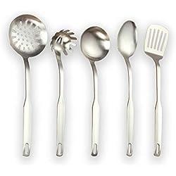 Berglander Utensilio de cocina de acero inoxidable, 5 piezas, acabado mate, sintonizador ranurado, cucharón, espumadera, cuchara para servir, juego de utensilios de cocina. (Plata mate)
