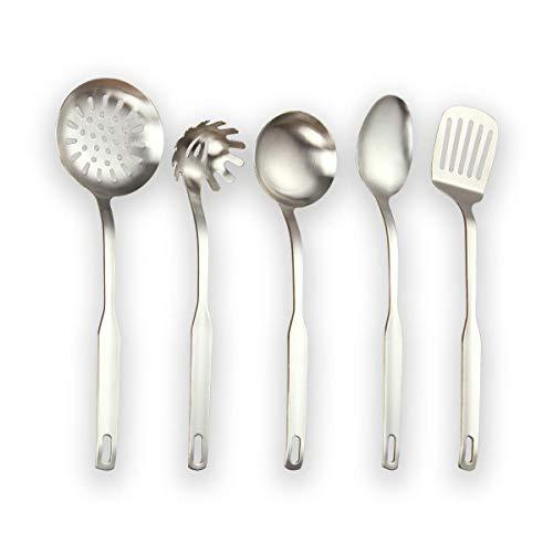 Berglander Utensile da cucina in acciaio inox 5 pezzi finitura opaca, accordatore a fessura, mestolo, schiumarola, cucchiaio da portata, pasta server. set di utensili da cucina. (Argento opaco)
