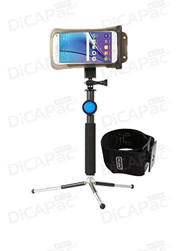 Meizu Blue Charm Metal / m1 note / m2 note - wasserdichtes Handyhüllen Set / Handytaschen Set inkl. vielen DiCAPac Action Haltern (GoPro® komp.) mit Bluetooth Fernauslöser, Selfie Stick inkl. Mini Stativ, Universalhalter und Sportarmband