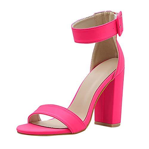 SHE.White Pump Damen Sommer Sandalen Süssigkeiten Farben Quadratischer Absatz Sommerschuhe Knöchel Umwickeln Sandaletten Elegant High Heels