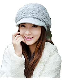 Voberry Women s New Warm Winter Braided Knit Brim Visor Ski Hat Beret Beanie  Cap 01325aef4e5