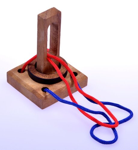 Verrückter Ring - Schnurpuzzle - Denkspiel - Knobelspiel - Geduldspiel - Logikspiel aus Holz