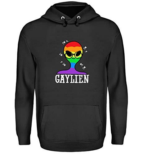 Schwuler Kostüm - Lustig Gaylien T-Shirt LGBT Flagge Outfit Gay Schwule Alien Kostüm mit Brille Geschenk - Unisex Kapuzenpullover Hoodie -L-Jet Schwarz