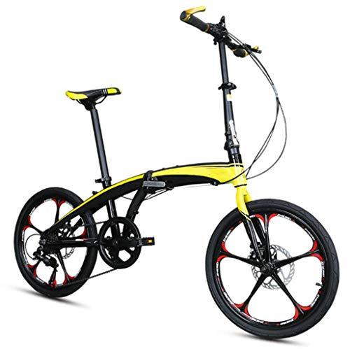 GHGJU Single Car 20 Zoll Aluminiumlegierung Ultraleicht Faltrad Erwachsene tragbare Kinderfrauen Faltrad Geeignet für Bergstraßen und Regen und Schnee (Color : Yellow)