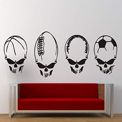 zhuziji Wandaufkleber Aufkleber Vinyl Schädel Fußball Sport Rock Motorrad Tod Skeleton Art Decor Home Decor Abnehmbare Wand Stick 32 X 85 cm -