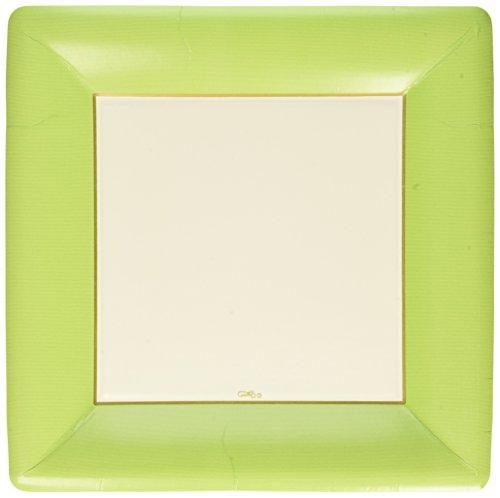 Caspari Entertaining Grosgrain Border Square Dinner Plates, Green, by Caspari Green Square Dinner Plate