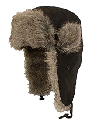Luxury Leather look Trapper Hat with fur lining Black 59