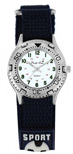 Pacific Time Kinder-Armbanduhr Klettarmband Fußball Uhr Jungen Mädchen Analog Quarz blau 20800