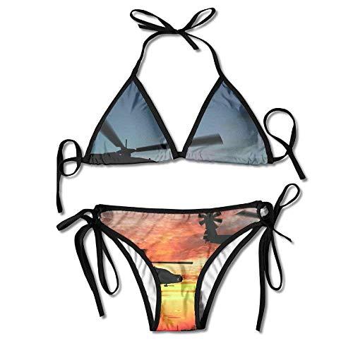 Sexy Women Sunset Helicopter Image Wallpaper Sexy Bikini Swimsuit Suit Set