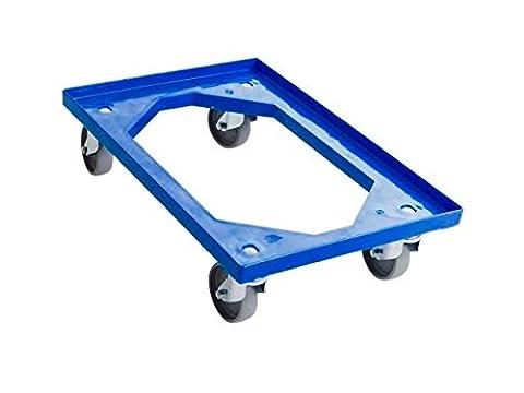 ricin Planche pour Euro Container standard Bleu–Chariot à Roulettes avec 4roulettes pivotantes–Fabriqué en Allemagne–Matériau ABS–Dimensions 610x 410x 175mm–Convient pour 60x 40boîtes et 40x 40x 30cm