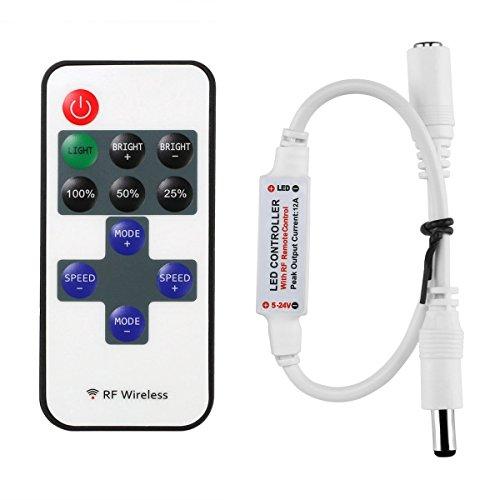 Minger Mini RF Fernbedienung für Einfarbige LED Streifen, RF Dimmer Drahtlose Controller für alle Dimmbare 5050 3528 LED Band LED Lichtstreifen Warmweiß Kaltes Weiß