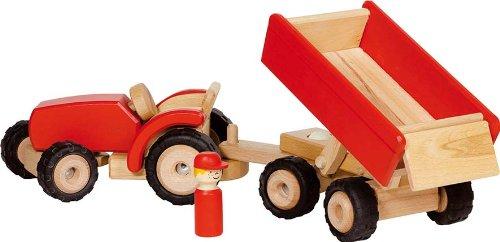 Goki - 2041282 - Figurine Transport Et Circulation - Tracteur en Rouge avec Remorque