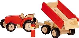 Goki 55942 vehículo de Juguete - Vehículos de Juguete (Negro, Rojo, Madera, Tractor, Caucho, Madera, 3 año(s), CE, 520 mm)