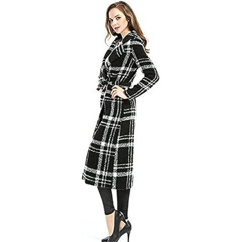 Moda femenina grande yardas de lona pata de gallo con largo manga sobre una capa de cinta , black ,