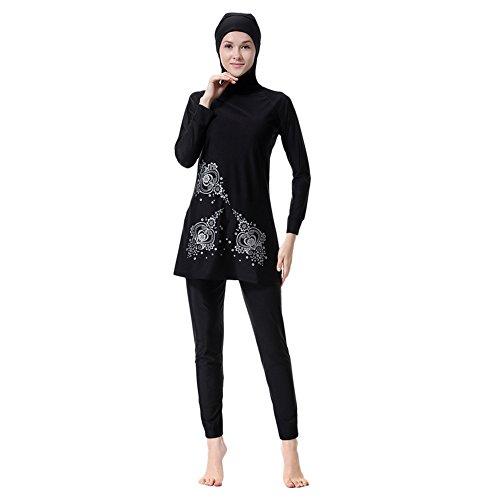 Badeanzug Damen Muslimische Schwimmanzug Muslim Schwimmen Kostüme Frauen Islamischen Muslim Hijab Volle Abdeckung Bademode Gedruckt Badeanzüge Tankinis Sonnenschutz Bademode Sets (In Voller Länge Schwimmen Kostüme)