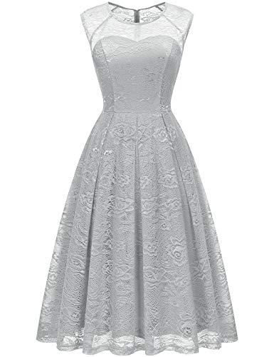 3b23b45b697 Bbonlinedress Robe Vintage Femme de Cocktail Soirée Bal Mariage Rockabily  en Dentelle sans Manches Grey S