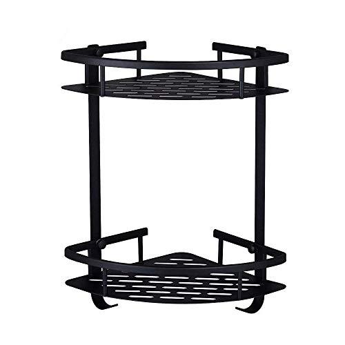 NOBGP Badezimmer-Salf Dusche Caddy Durable Aluminium 2 Tiers Duschregal mit 2 Haken Dreieckwand montiert Badezimmer-Swarf Küche Korn