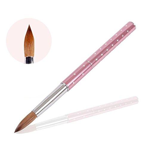 Pennello per unghie in acrilico 1Pc 14 # Rosa Manico in metallo e diamanti con capelli Kolinsky (14 #, rosa)